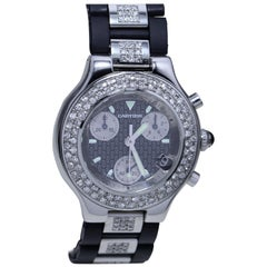 Cartier Diamond Studded Men's Chronograph Watch