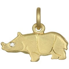 Faye Kim Green Gold Rhino Charm with Diamond Eye