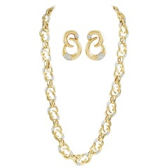 Cartier Diamond Long Link Chain Necklace and Earrings