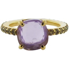 Pomellato 18 Karat Pink Gold Amethyst and Diamond Ring