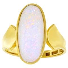 Modernist Opal Set Gold Ring