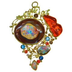 Jennifer Kalled opal pendant gold orange sapphire blue ziron 22k 18k 14k