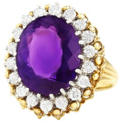 Amethyst and Diamond Set Gold Ring