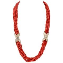 Van Cleef & Arpels Coral Diamond Gold Torsade Necklace and Bracelet Combination