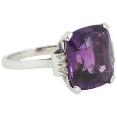 Cushion Cut Amethyst and Diamond Ring