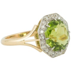 Octagonal Peridot and Diamond Cluster Ring