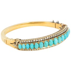 Victorian Turquoise and Diamond Bangle
