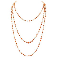 Handmade Coral and Pearl Gold Necklace