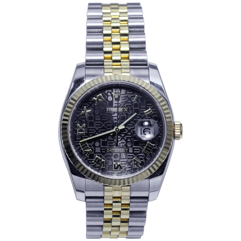 Rolex Jubilee Datejust Black Men's Watch with Roman Numerals and Date Display