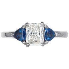 .76 Carat Radiant Cut Diamond Sapphire Platinum Three-Stone Engagement Ring