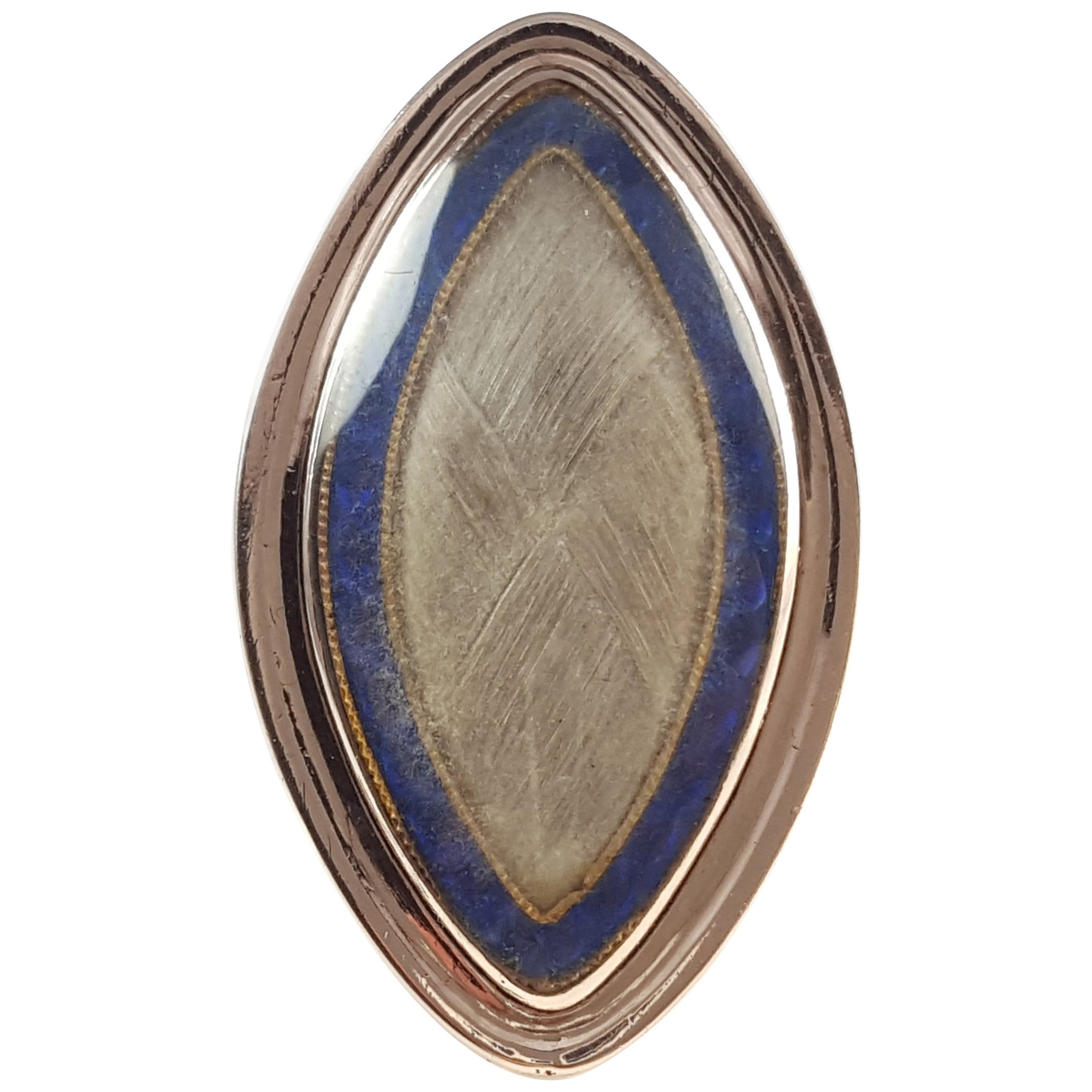 Georgian 9k rose gold glazed hair panel & blue enamel memorial navette ring