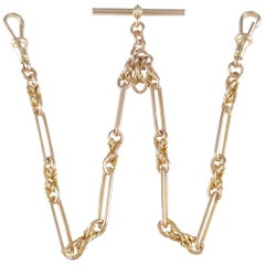 Antique 9 Karat Rose Gold Link Albert Watch Chain Birmingham 1917 38.7 Grams