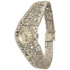 Vintage 14K White Brushed Gold Diamond Watch Bracelet Swiss Certina Modernist