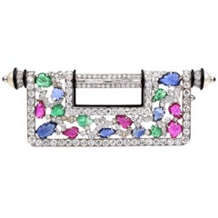"Gemstone and Diamond ""Chinese Key"" Brooch"