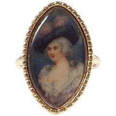 1778 Dated George III 9 Karat Gold Portrait Miniature Memorial Mourning Ring