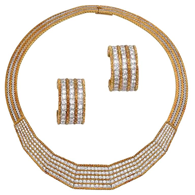 Buccellati Set of Diamond Necklace and Earrings
