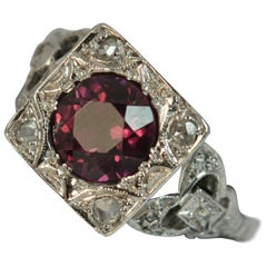 Art Deco Platinum Rhodolite Garnet and Rose Cut Diamond Statement Ring