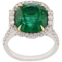 6.93 Carat Emerald Diamond Fashion Ring