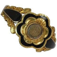 1836 William IV 18 Carat Gold and Enamel Flower Mourning Ring