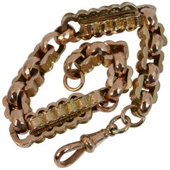 Victorian 9 Carat Rose Gold Fancy Link Pocket Watch Chain Bracelet