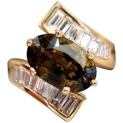 GIA Certified 8.92 Carat Natural Chrysoberyl Diamonds Bypass Ring 14 Karat