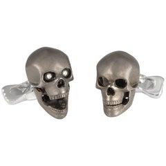 Deakin & Francis Sterling Silver Grey Skull Cufflinks with Diamond Eyes