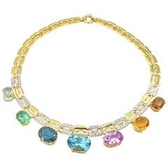 78.51 Carat Multi-Color Semi Precious Gemstone Gold Necklace White Zircon
