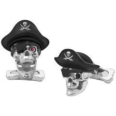 Deakin & Francis Sterling Silver Pirate Skull Cufflinks with Hat and Ruby Eyes
