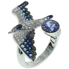 Tanzanite Diamonds Sapphire 18 Karat White Gold Seagull Ring