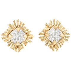 Tiffany & Co. 0.95 Carat Diamond and 18 Karat Gold Ear-Clips