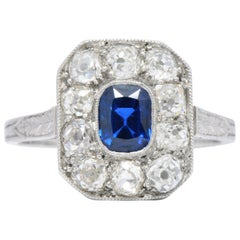 Art Deco 0.85 Carat Sapphire Diamond and Platinum Alternative Engagement Ring