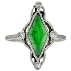 Art Deco Jade Diamond and Platinum Dress Ring