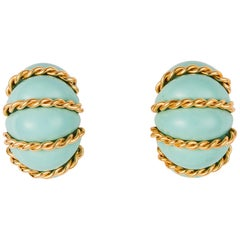 Seaman Schepps Large Turquoise Shrimp Earrings