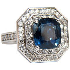 GIA Certified 4.07 Carat Natural No Heat Sapphire Diamond Ring Unheated