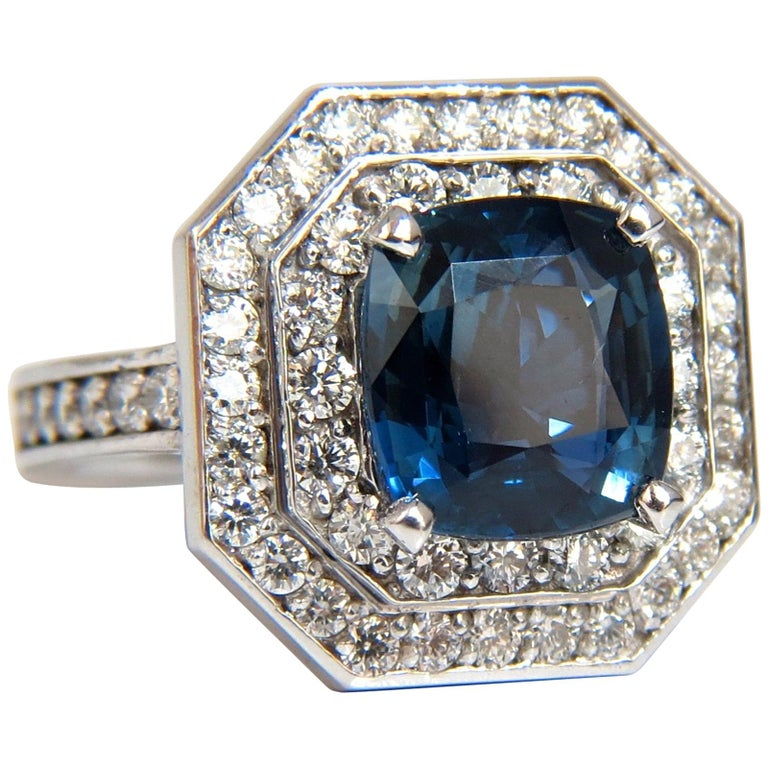 GIA Certified 4.07 Carat Natural No Heat Sapphire Diamond Ring Unheated
