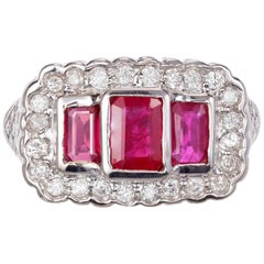 1.08 Carat Ruby Diamond White Gold Cocktail Ring