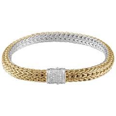 John Hardy Women's Classic Chain Gold and Silver Diamond Pave 0.16 Carat