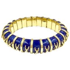 18 Karat Gold and Blue Enamel Michael Gates Bracelet