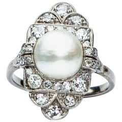 Platinum Art Deco Natural Pearl and Diamond Panel Ring
