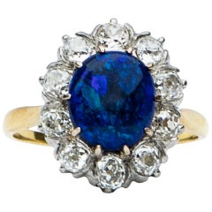 Art Deco Blue Opal and Diamond Cluster Ring