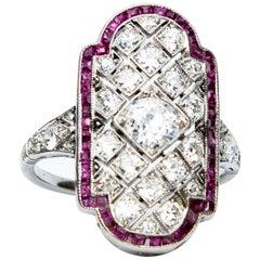 Platinum Art Deco Ruby and Diamond Panel Ring