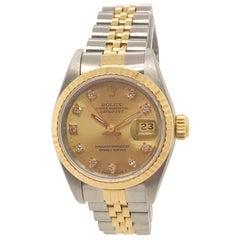 Rolex Ladies Yellow Gold Stainless Steel Diamond Datejust Wristwatch, circa 1990