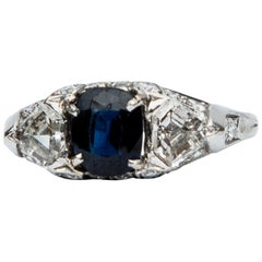 Platinum Art Deco Natural Sapphire and Diamond Three-Stone Ring