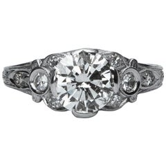 Art Deco 18 Karat White Gold Diamond Solitaire