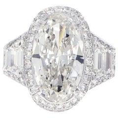 GIA Certified 4.34 Carat Oval Diamond Platinum Ring