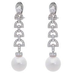 South Sea Pearls and White Diamonds 18 Karat White Gold Dangle Earrings