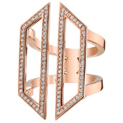 18 Karat Rose Gold Diamond Geometric Hexagon Ring