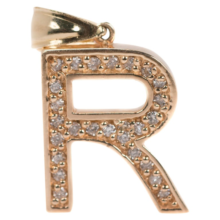 Letter R Diamond Pendant Charm in 14 Karat Yellow Gold