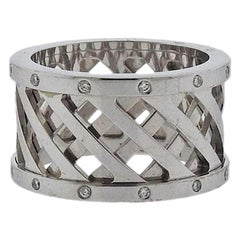 Hermes Diamond Gold Wide Band Ring