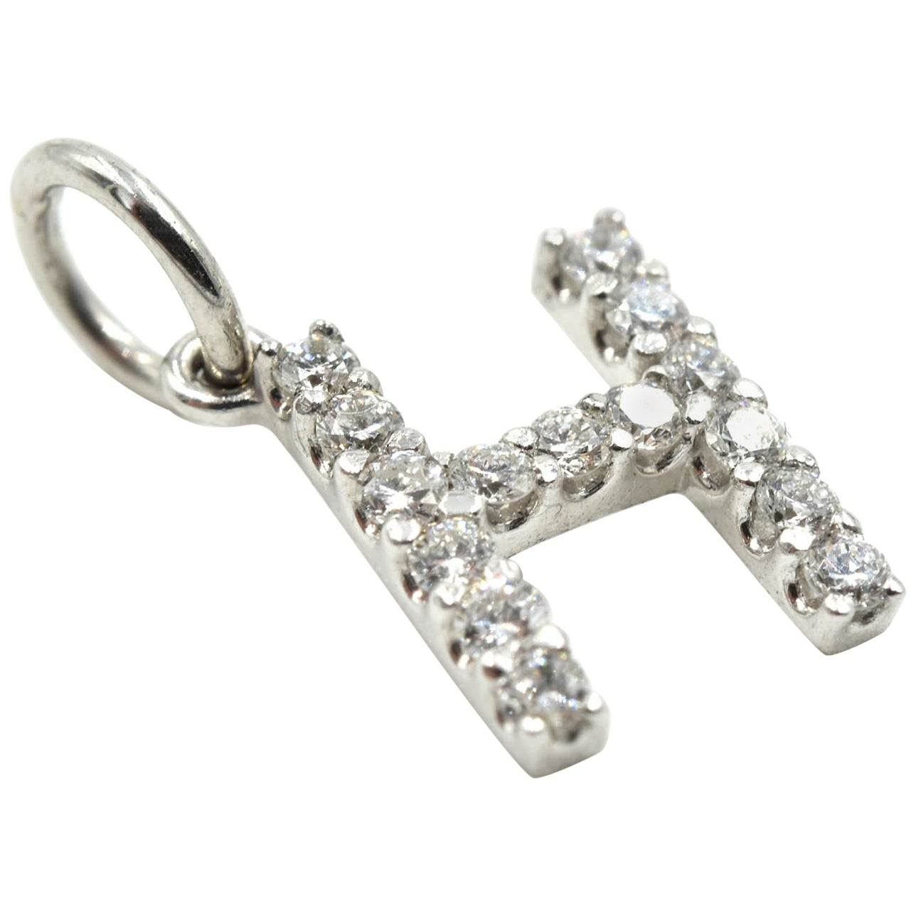 "Diamond ""H"" Sliding Pendant 14 Karat White Gold"